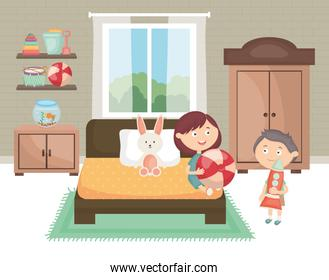 little kids couple playing with toys in the room