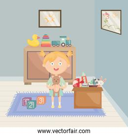 little girl playing with toys in the room