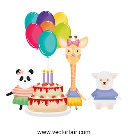 cute sheep and giraffe with panda in birthday party