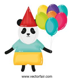 cute bear panda with balloons helium in birthday party