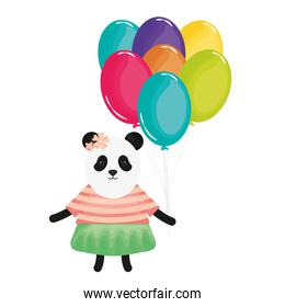 pretty bear panda with balloons helium in birthday party