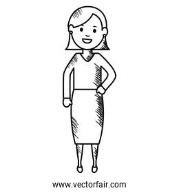 monochrome young woman avatar character