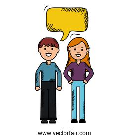 young couple with speech bubbles avatars characters