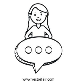 monochrome woman with speech bubbles avatar character square frame and birthday elements vector illustraitor