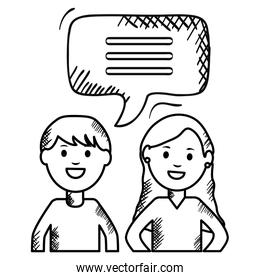 young couple with speech bubbles avatars characters square frame and birthday elements vector illustraitor