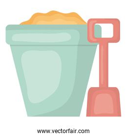 sand bucket with shovel toys entertainment square frame and birthday elements vector illustraitor