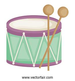 drum musical instrument toy square frame and birthday elements vector illustraitor