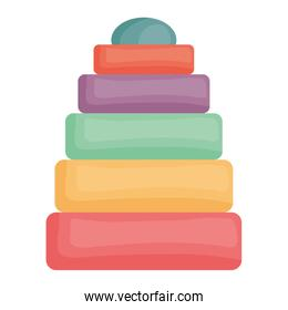 pyramid of colors toy entertainment icon square frame and birthday elements vector illustraitor