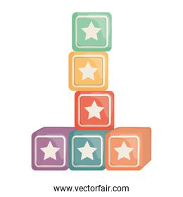 cubes blocks with stars toys entertainment square frame and birthday elements vector illustraitor