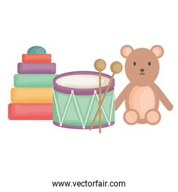 little bear teddy with drum and blocks square frame and birthday elements vector illustraitor