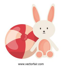 plastic balloon with rabbit toys square frame and birthday elements vector illustraitor