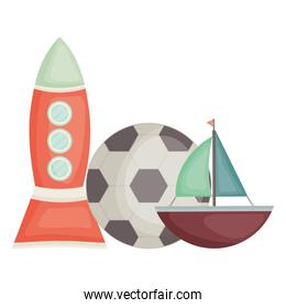 rocket toy with sailboat and soccer balloon square frame and birthday elements vector illustraitor