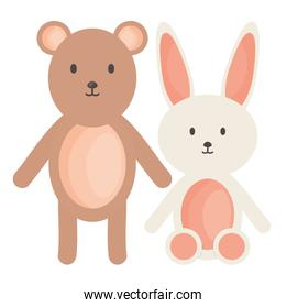 little bear teddy withbunny stuffed toys square frame and birthday elements vector illustraitor