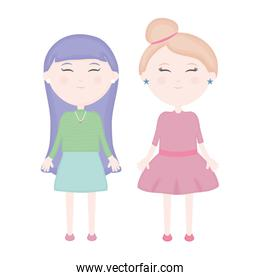 cute girls characters vector illustrator