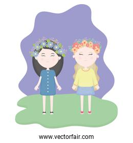 couple of cute girls with floral crown in the hair in the camp scene