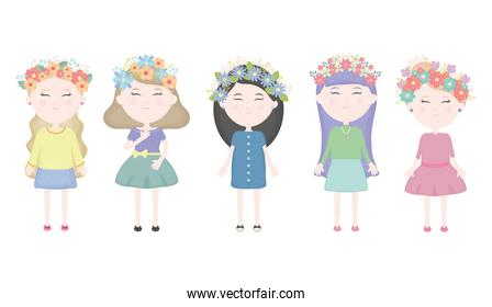 group of cute girls with floral crown in the hair characters