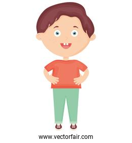 cute little boy character vector illustration