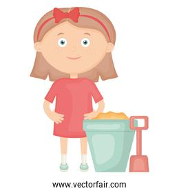 cute little girl playing with sand bucket