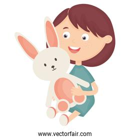 cute little girl with rabbit stuffed