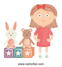 cute little girl with bear teddy and rabbit