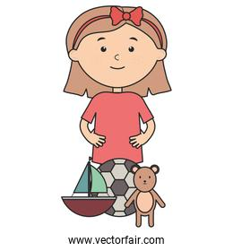 cute little girl with bear teddy and sailboat in flat style