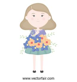cute little girl with floral bouquet character