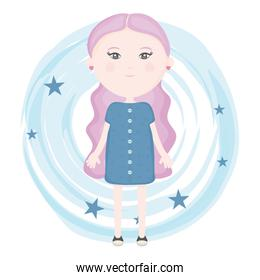 cute little girl with paint and stars pattern