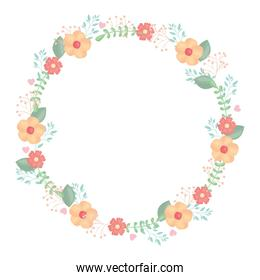 circular crown with flowers and leafs decoration