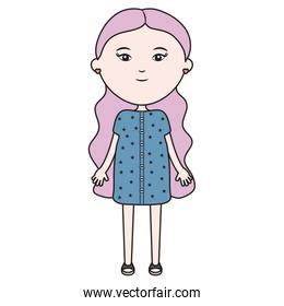 cute little girl character vector illustration