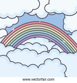 clouds sky with rainbow weather