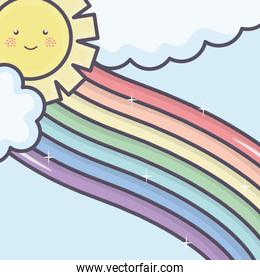 cute summer sun and clouds with rainbow kawaii characters