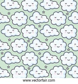 clouds sky weather kawaii characters pattern