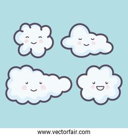 group of clouds sky weather kawaii characters