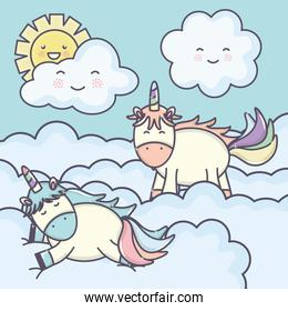 cute adorable unicorns with clouds characters