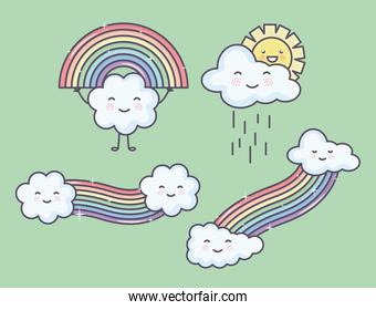 clouds sky with rainbow and sun kawaii characters