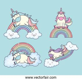 group of cute unicorns with rainbows and clouds characters