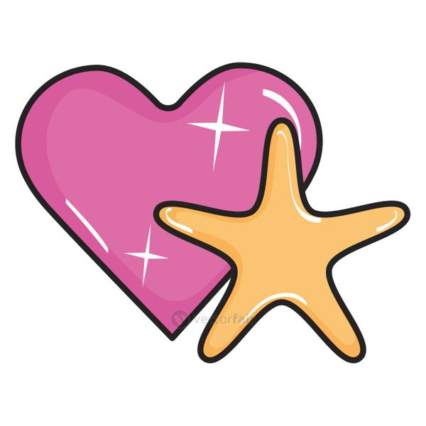 heart love with star pop art style