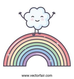 cloud sky with rainbow weather kawaii character