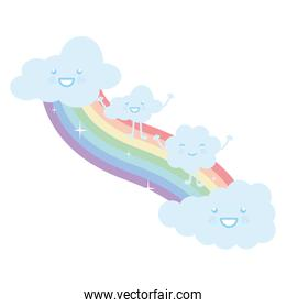 clouds sky with rainbow weather kawaii character
