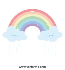 rainy clouds sky with rainbow weather kawaii character