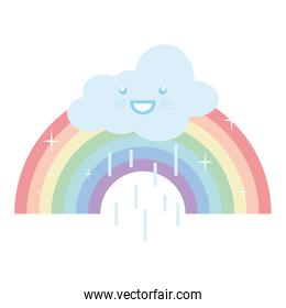cloud sky rainy with rainbow kawaii character