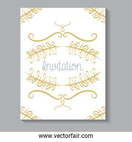 invitation card with leafs golden calligraphy