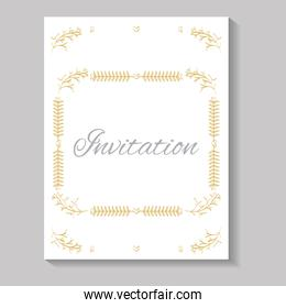 invitation card with square frame leafs golden calligraphy