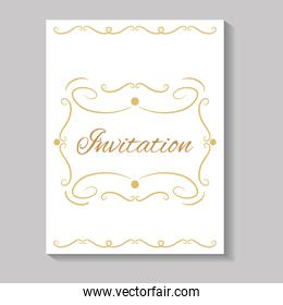 invitation card with edges golden calligraphy