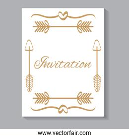 invitation card with leafs and arrows golden calligraphy