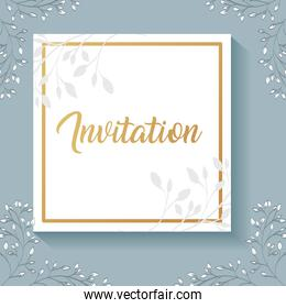 invitation card with square frame and leafs golden calligraphy