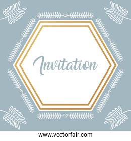 invitation card with diamond frame and leafs golden calligraphy