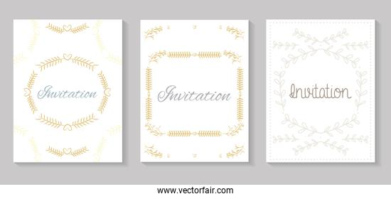 set invitation cards with leafs golden calligraphy