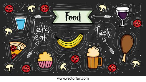 bundle of delicious food pattern background