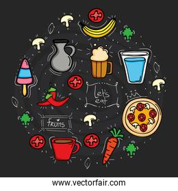 delicious food circular pattern icons